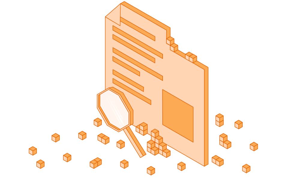 Orange web page with a magnifying glass.