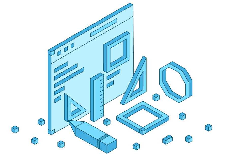 Blue graphic with a web page and geometric shapes.