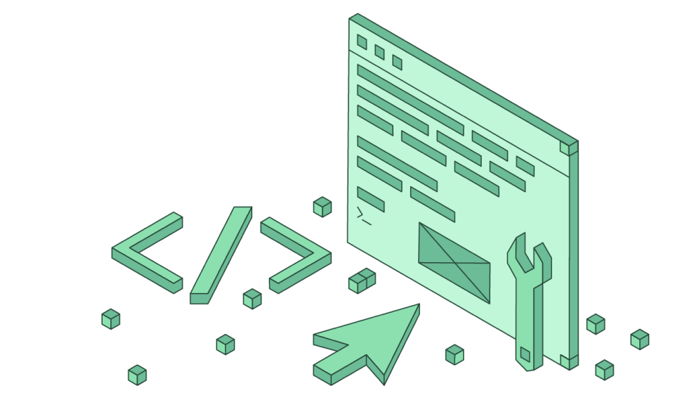 Green square graphic with a web page, wrench, and coding language.