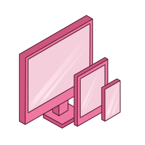Pink desktop, tablet, and mobile phone.