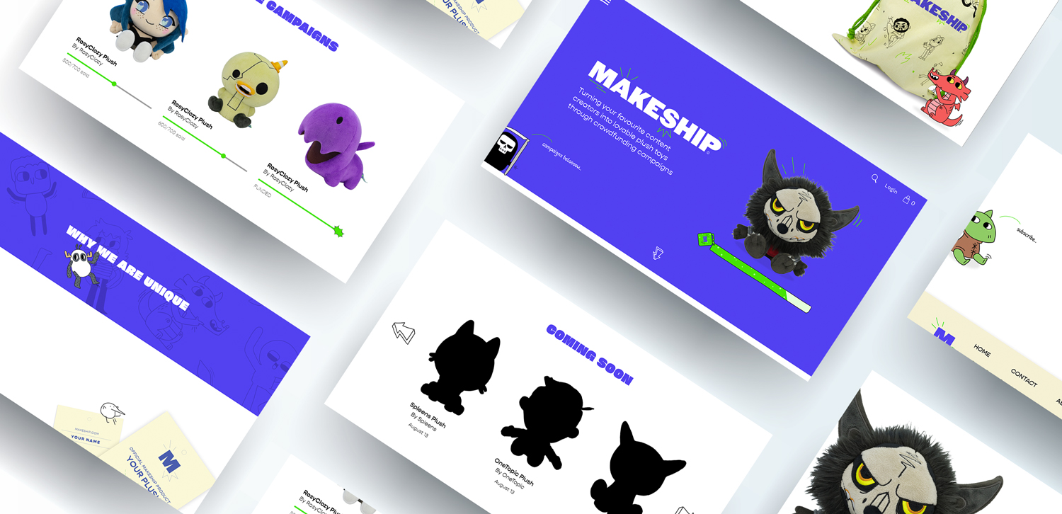 Screens from the Makeship homepage of their website