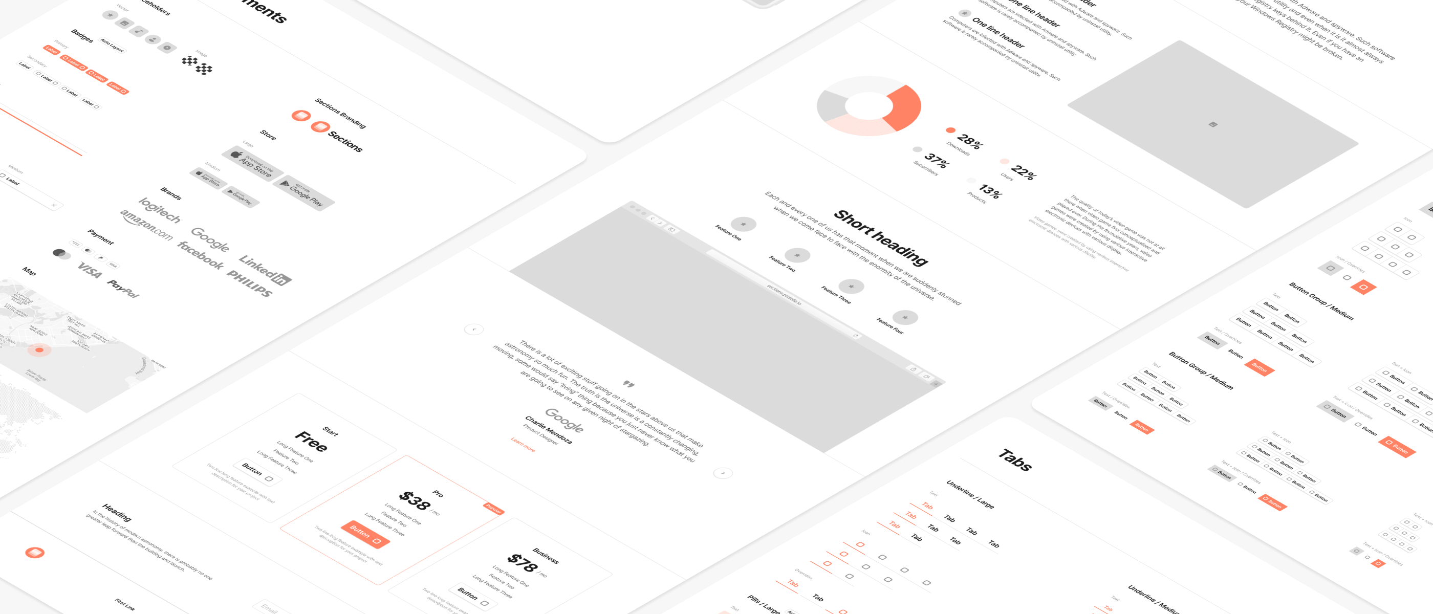 web wireframe kit in light for sketch and figma