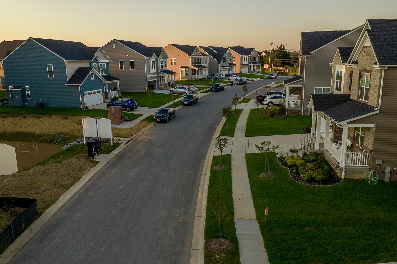 A target audience in a neighborhood of homes