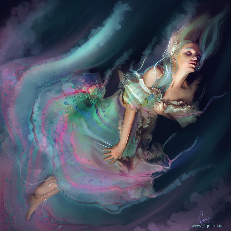 artwork of a dissolving woman