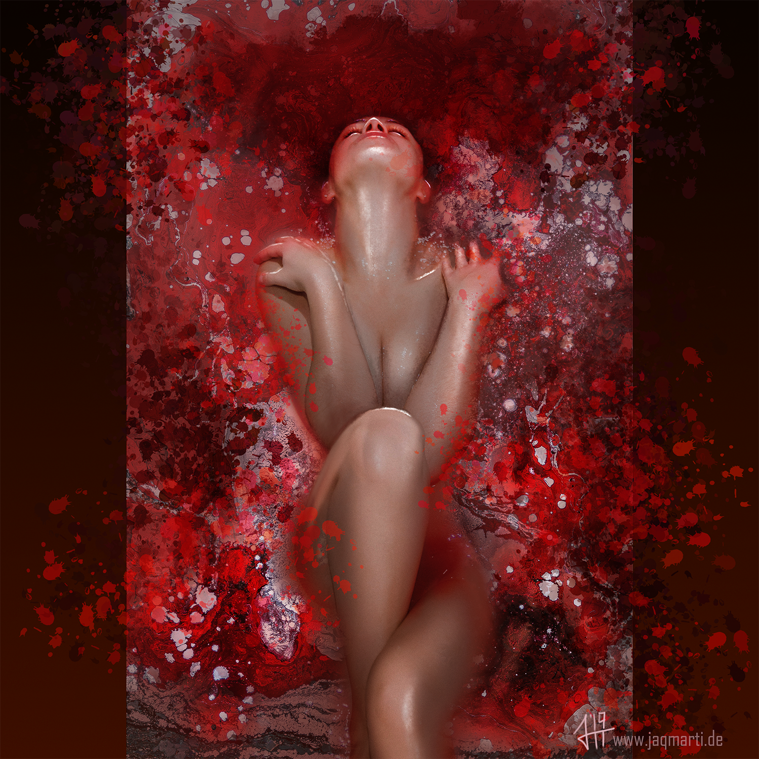 picture of a woman in red water