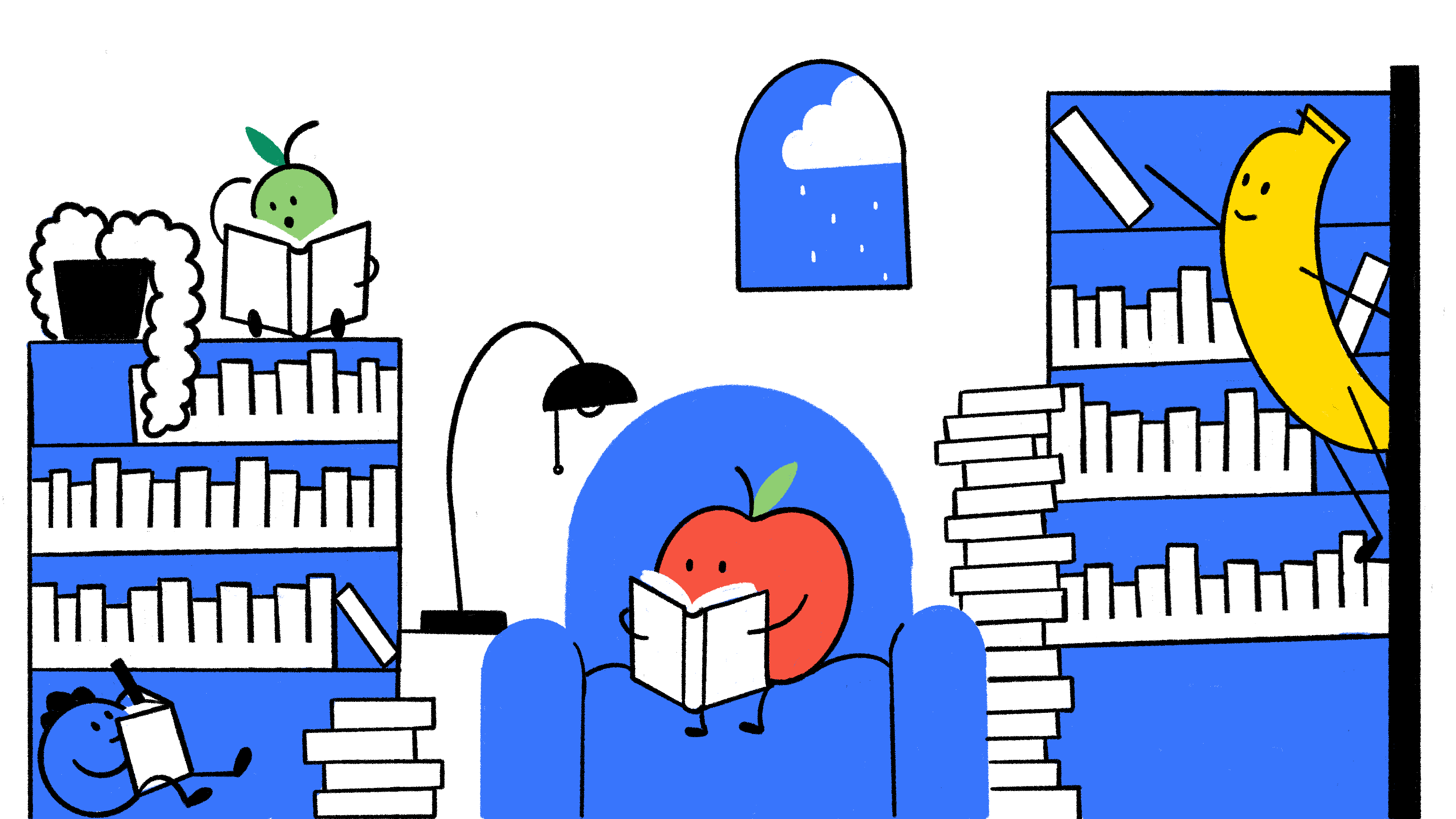 Apple is reading on the couch while Banana is looking for a book and Blueberry and Pear are reading in various places