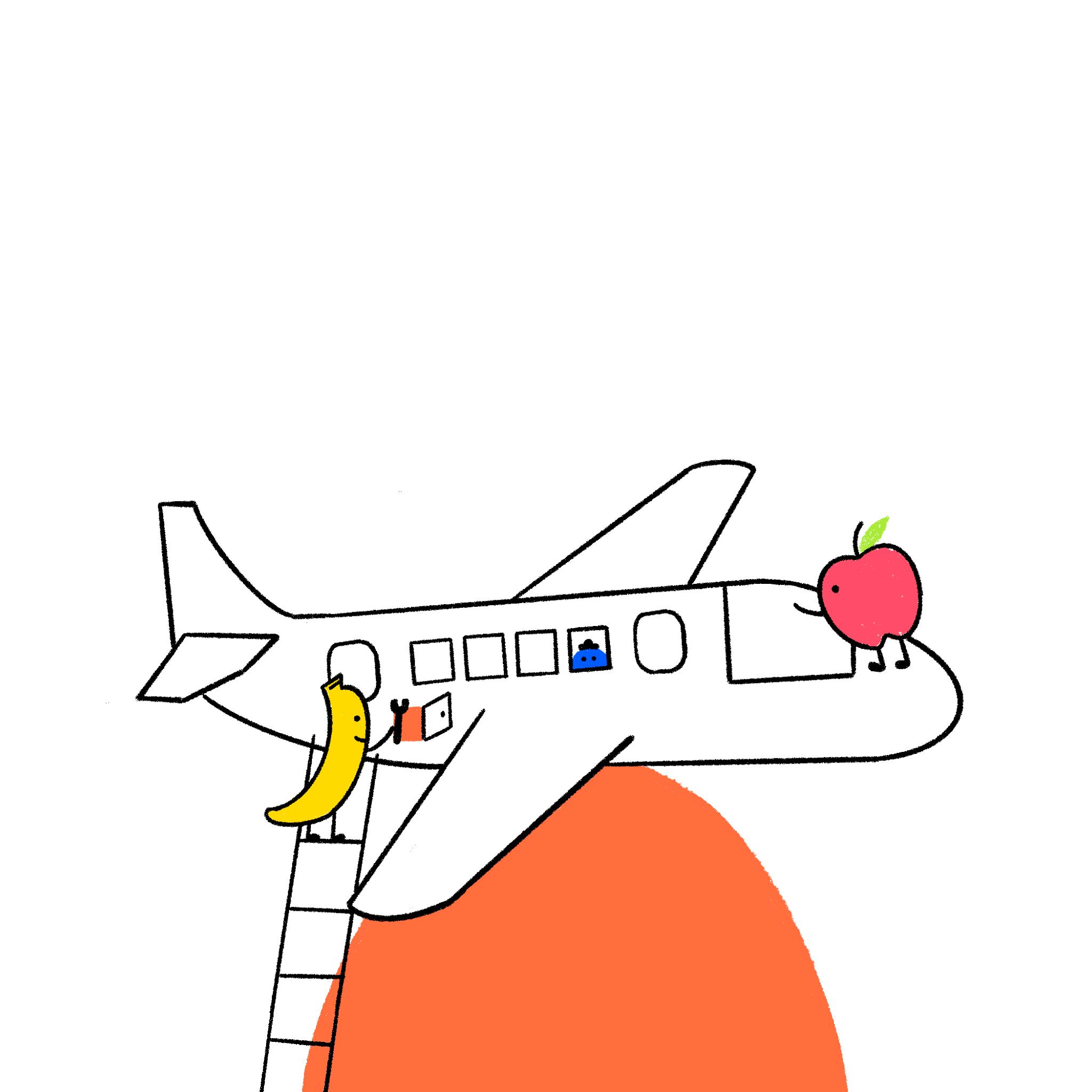 Apple & Banana stuck to a magnet
