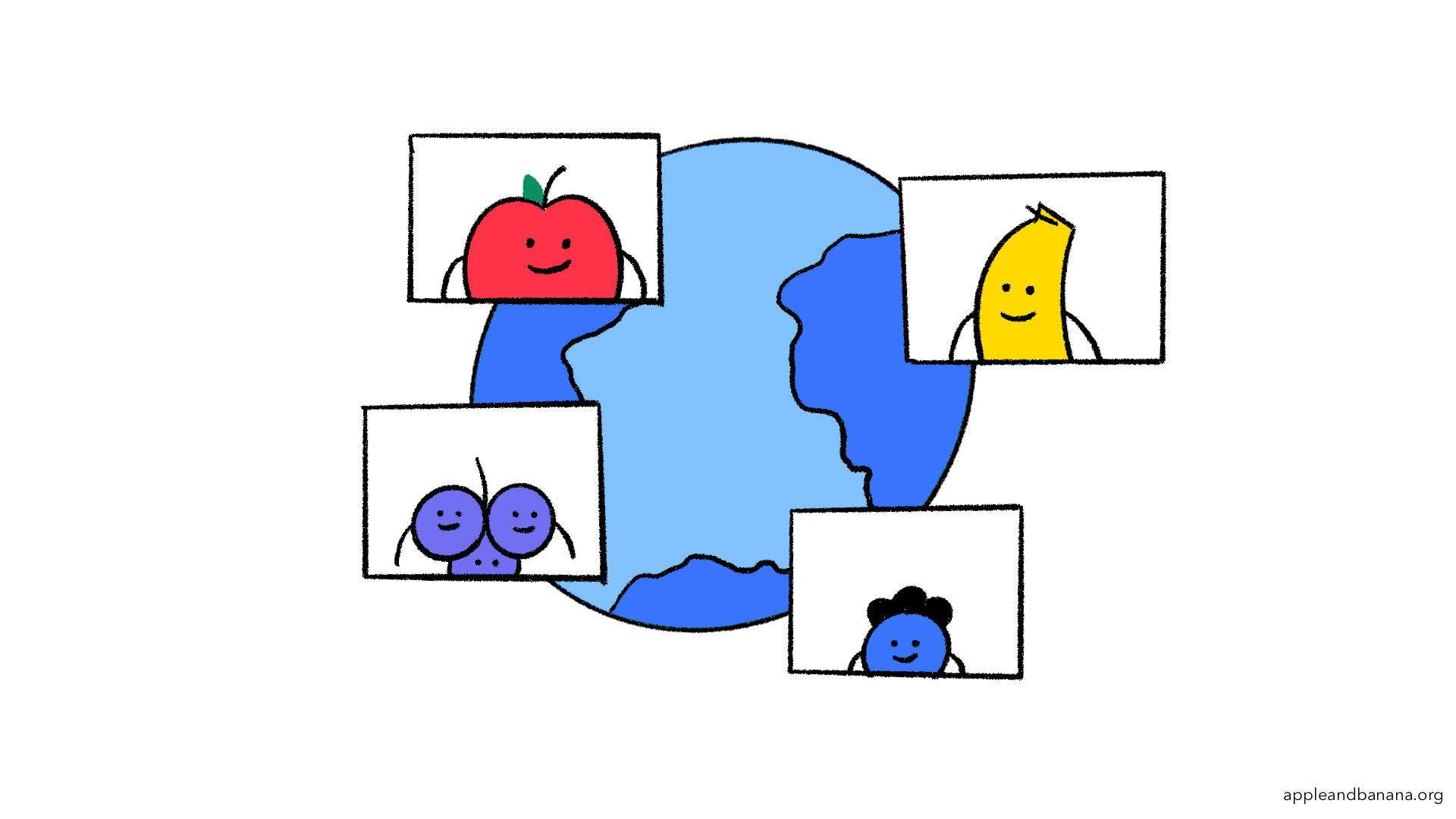 A map of the world with different fruits showcasing the global nature of our participants!