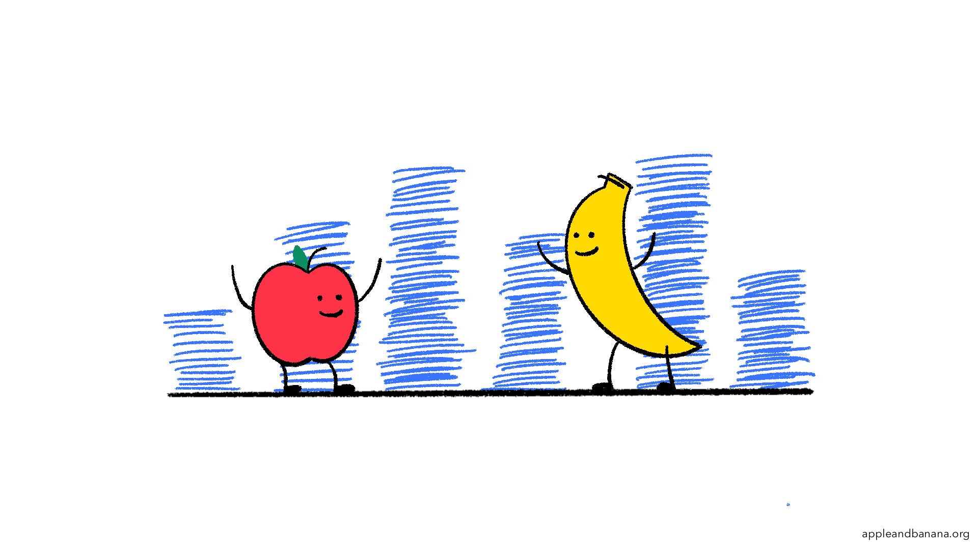 Apple & Banana standing in front of all of the data they just collected from doing user research