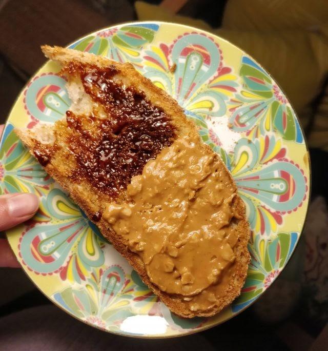 Peanut butter & marmite on toast