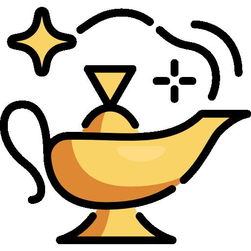 Gold genie lamp