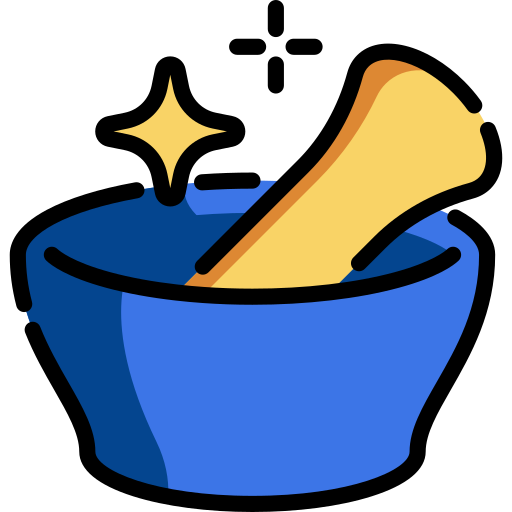 Blue and gold mortar and pestle with stars