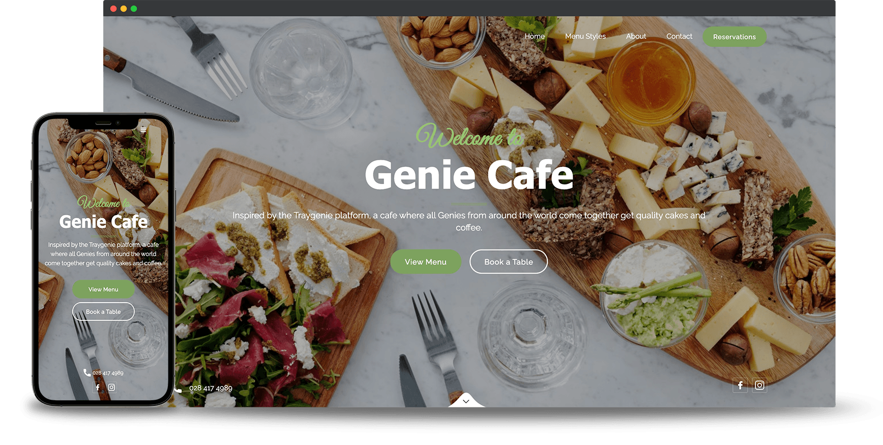 Bubble & Squeak restaurant website on browser and mobile phone