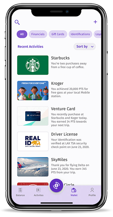 Digital Wallet mobile application - View of digital cards and identifications in a wallet.