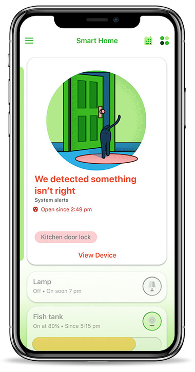 Wemo smart home mobile application - Home screen displaying suggestion card