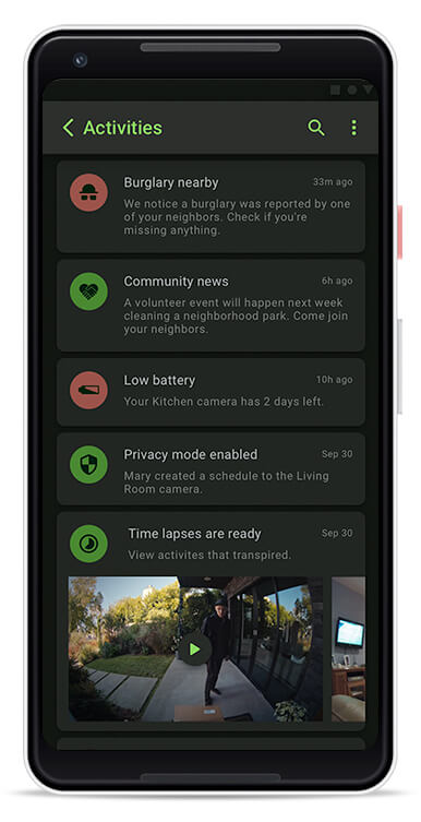 Netcam security camera mobile application - notifications of events around the neighborhood and people detection.