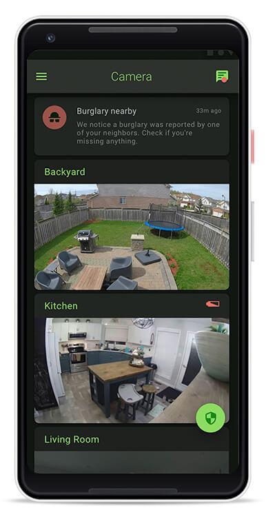 Netcam security camera mobile application - Home screen with a list of camera views.