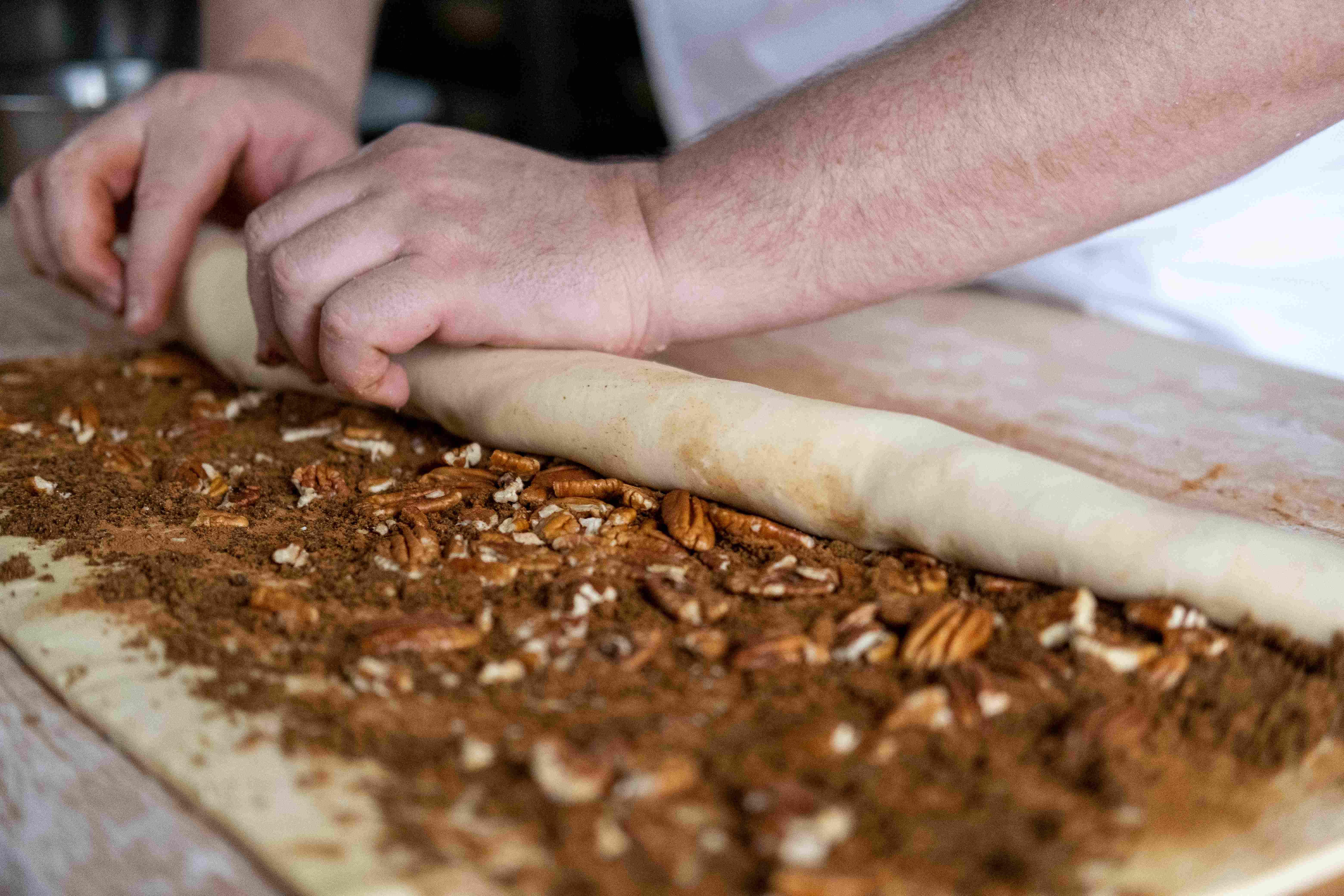 Grégoire Michaud rolling pastry dough