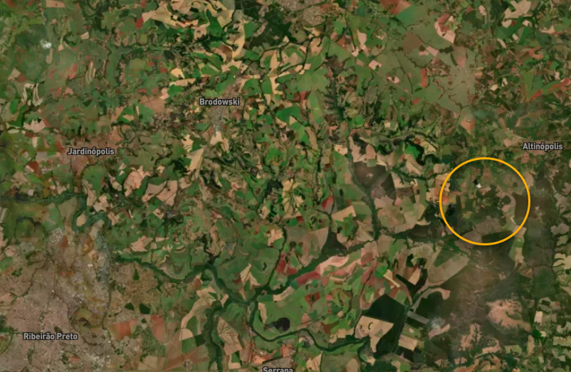 The location of the selected test area of 100ha area