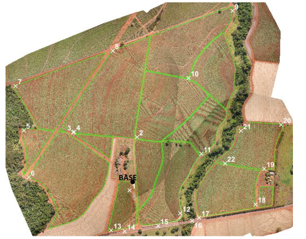 Field boundaries and distribution of the checkpoints on the sugarcane field