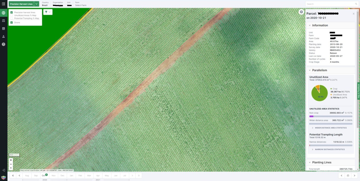 Automatic precision harvest lines on the Gamaya Viewer