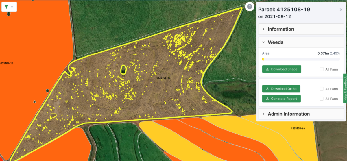 Results of weed detection analytics on a field