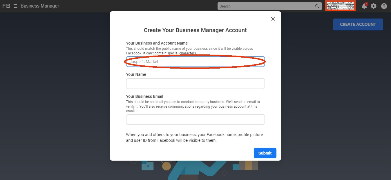 Facebook Business Manager - Search Box