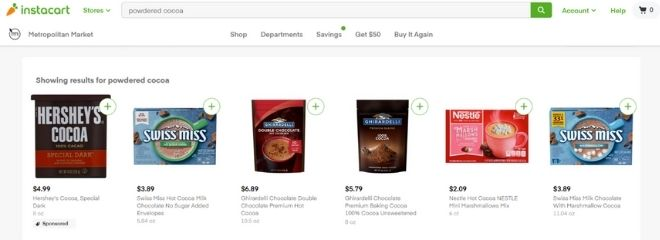 Search results for powdered cocoa on Instacart