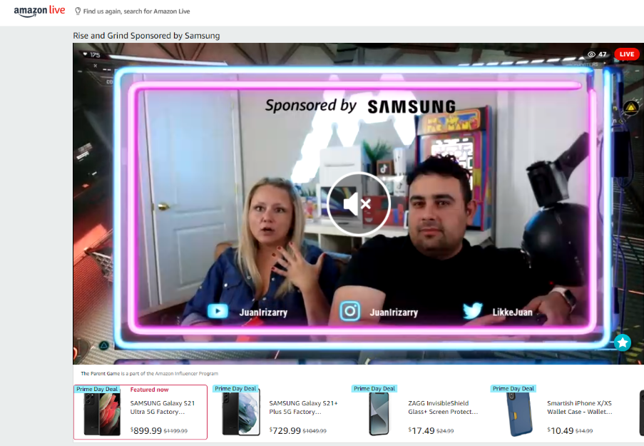 Screenshot of Samsung's Amazon Live event
