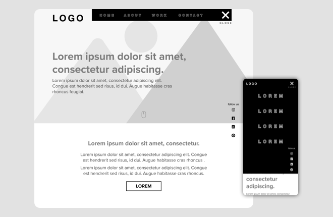 Wireframes  of  Clamor project