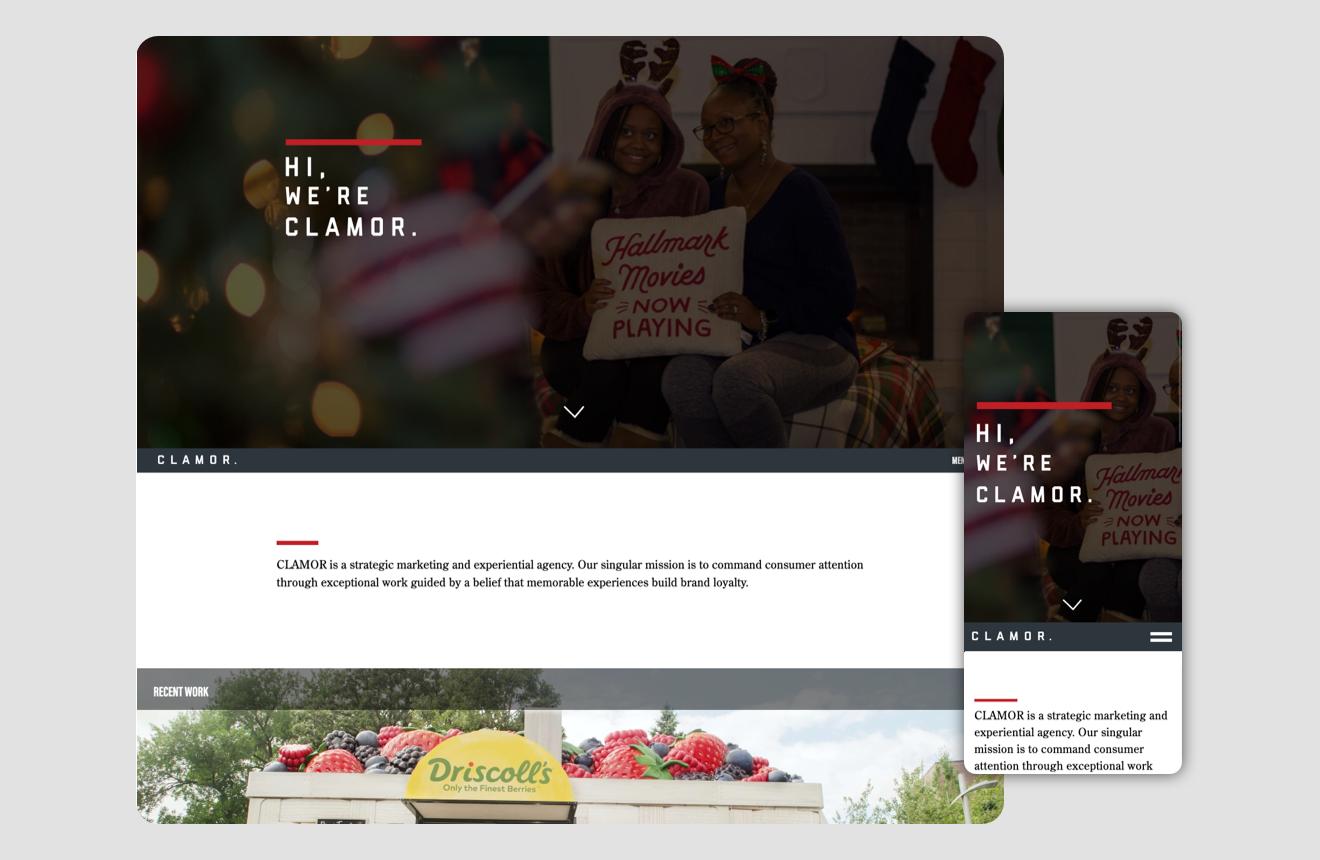 Clamor's homepage UI