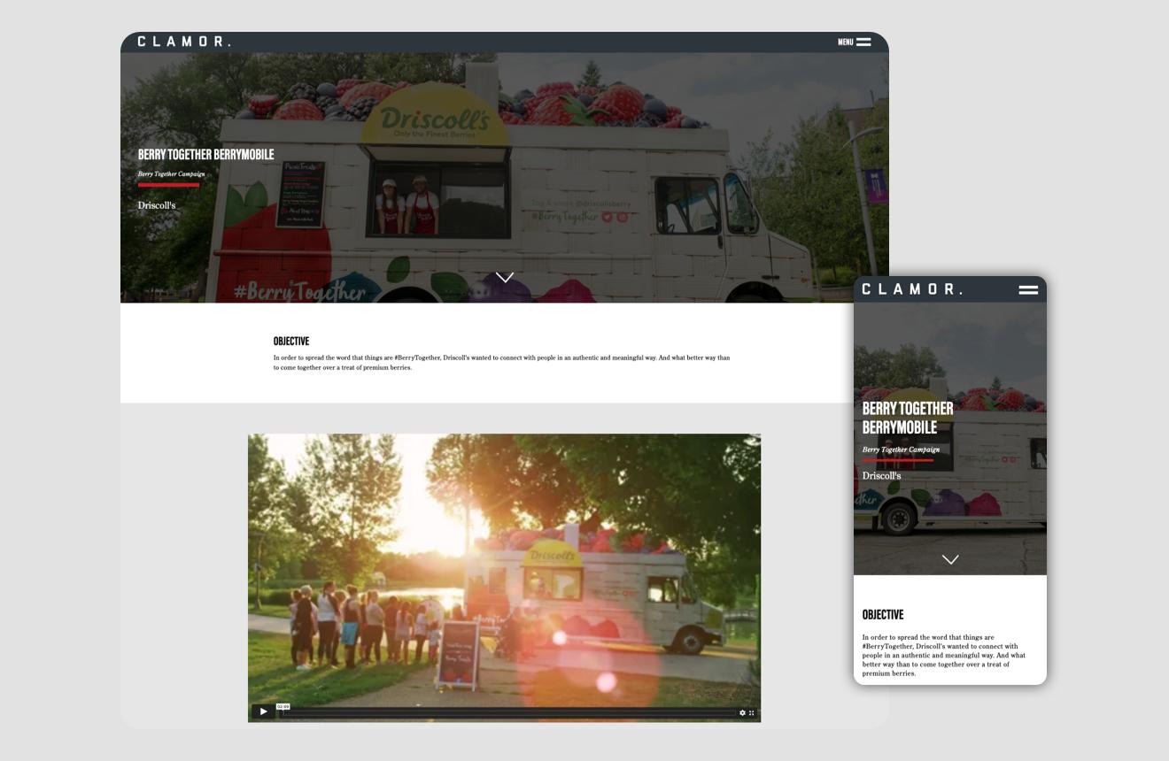 Clamor's individual work page UI