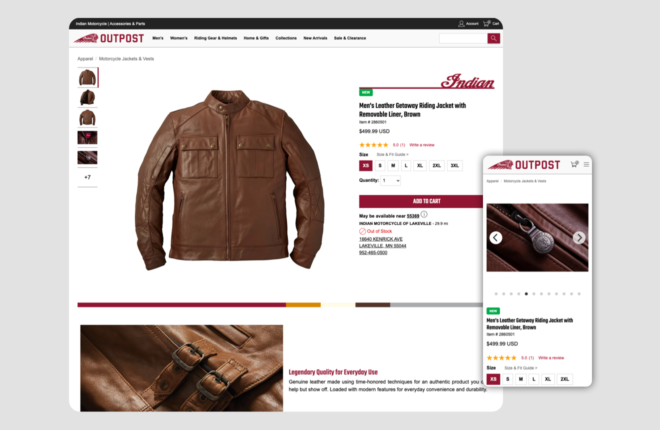 Indian motorcycle detail Product Ui - Feature a leather jacket