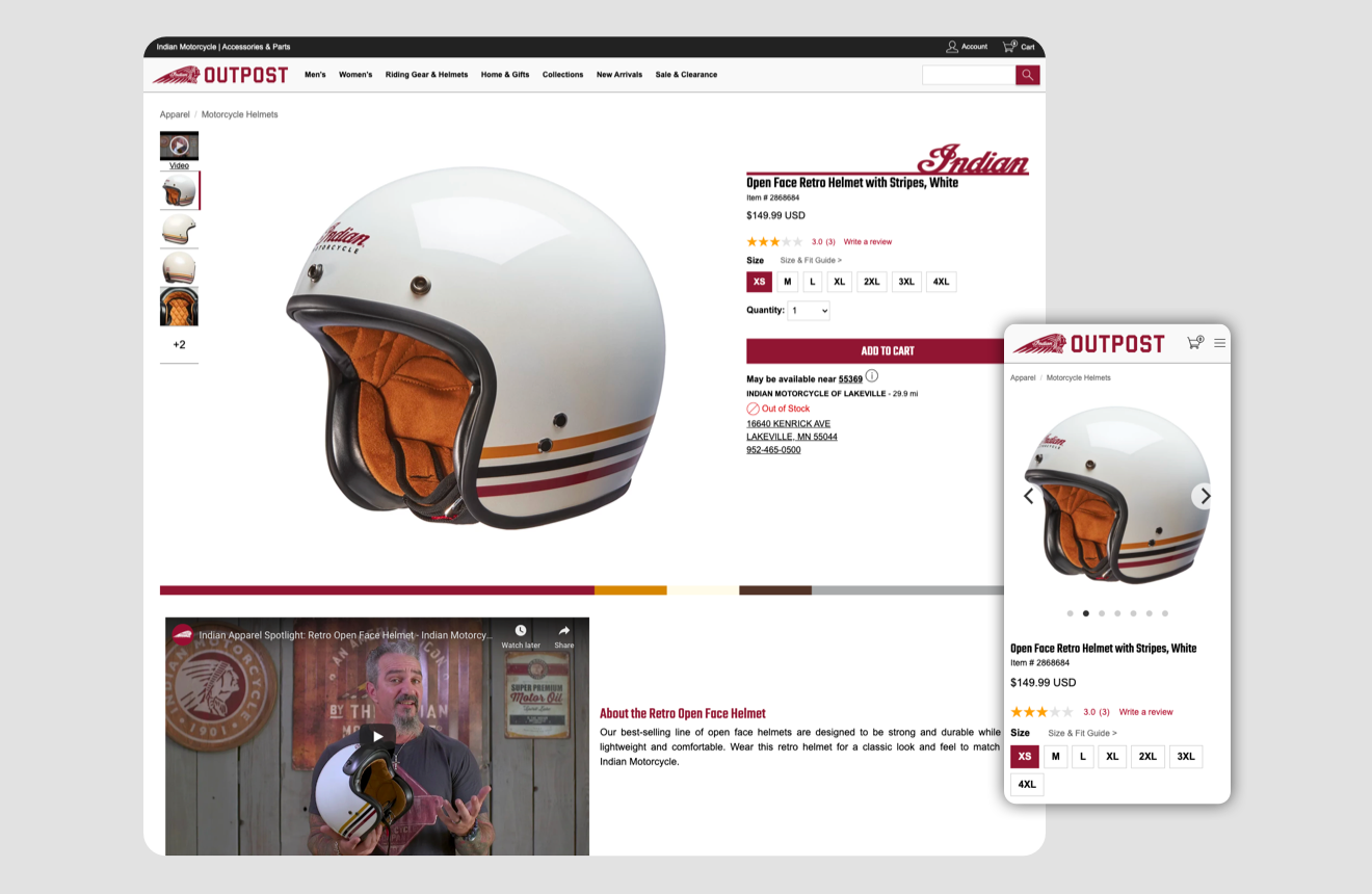 Indian motorcycle detail Product Ui - Feature a motorcycle helmet