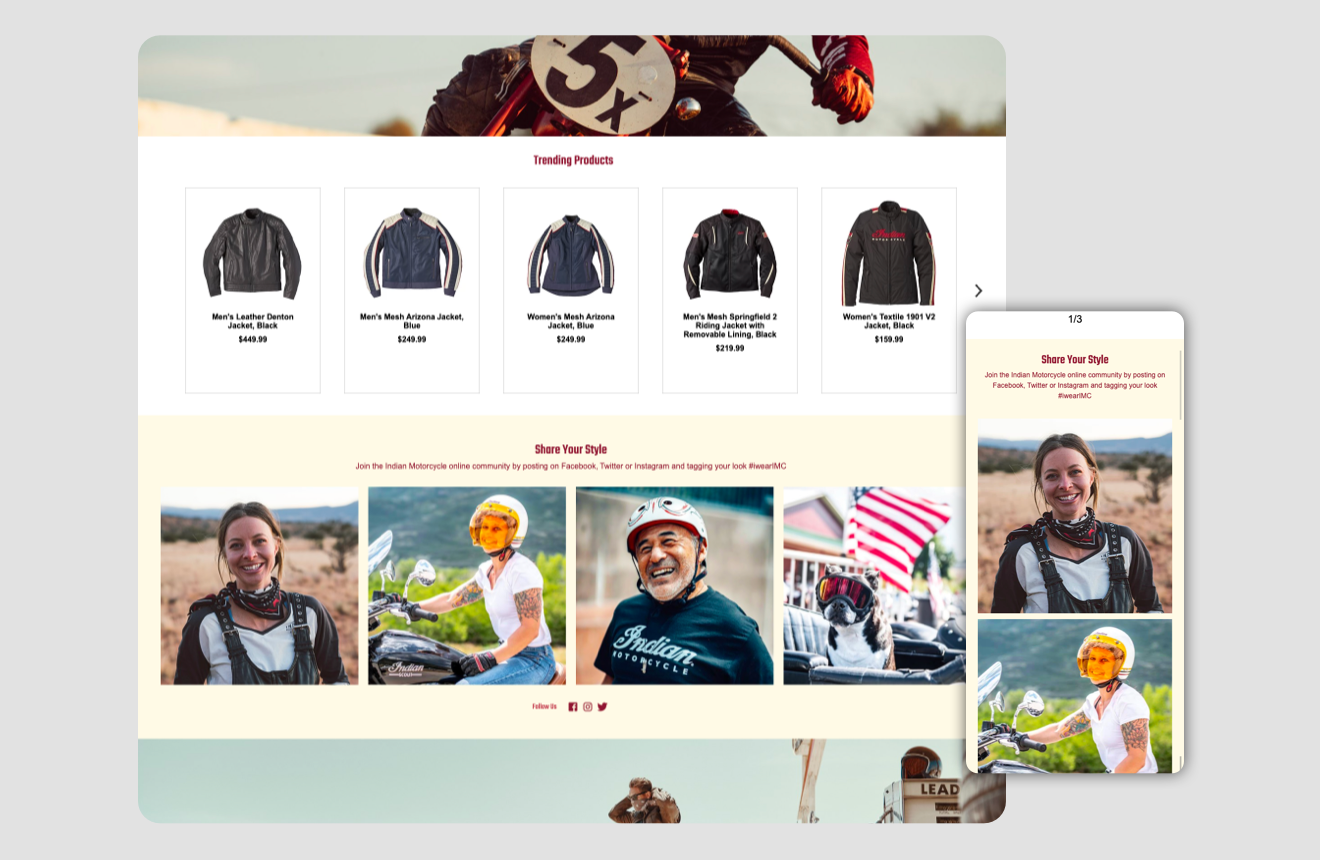 Indian motorcycle homepage ui - features various trending jackets along with user generated social images.