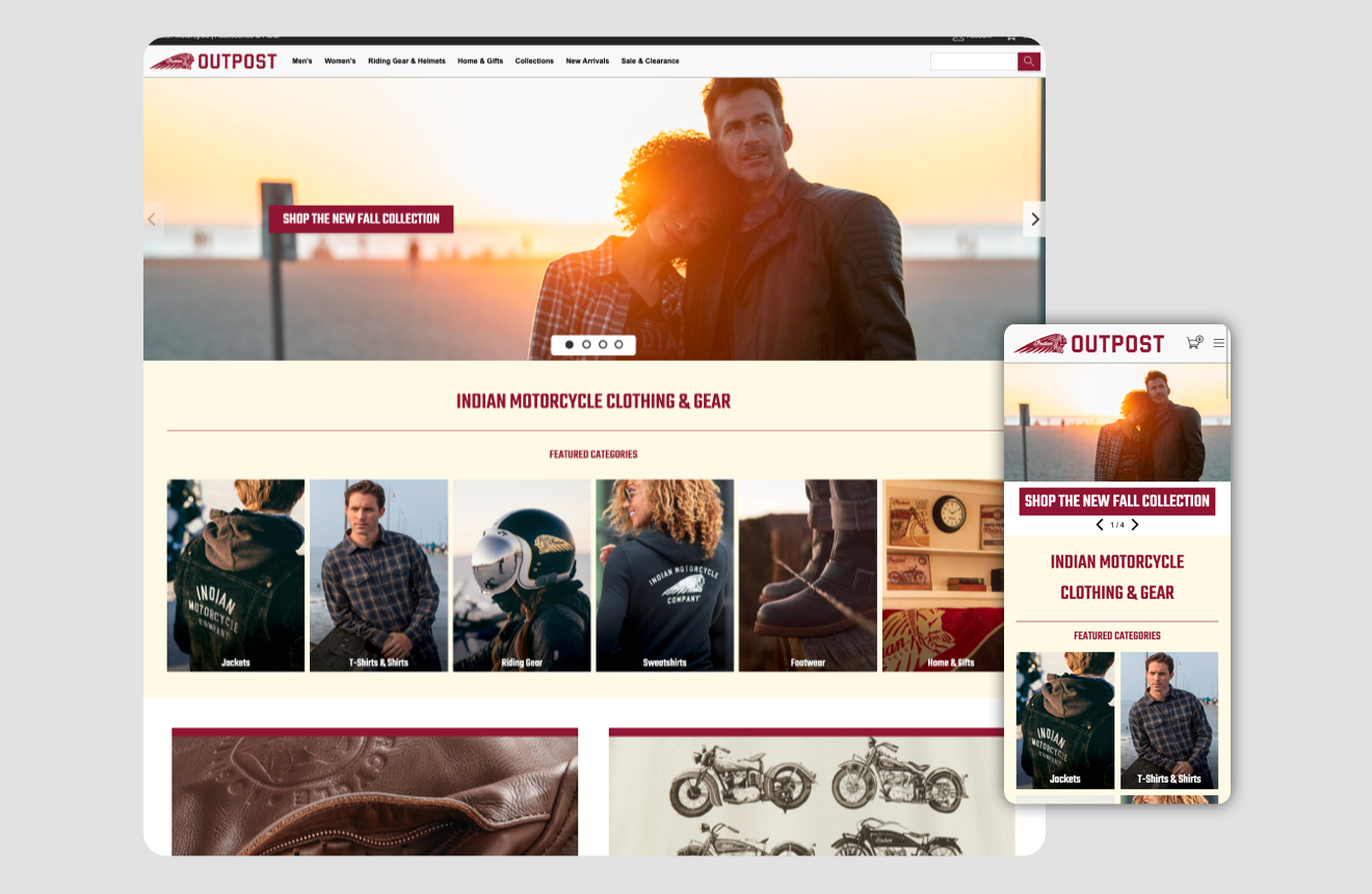 Indian motorcycle homepage ui - features initial landing hero section.