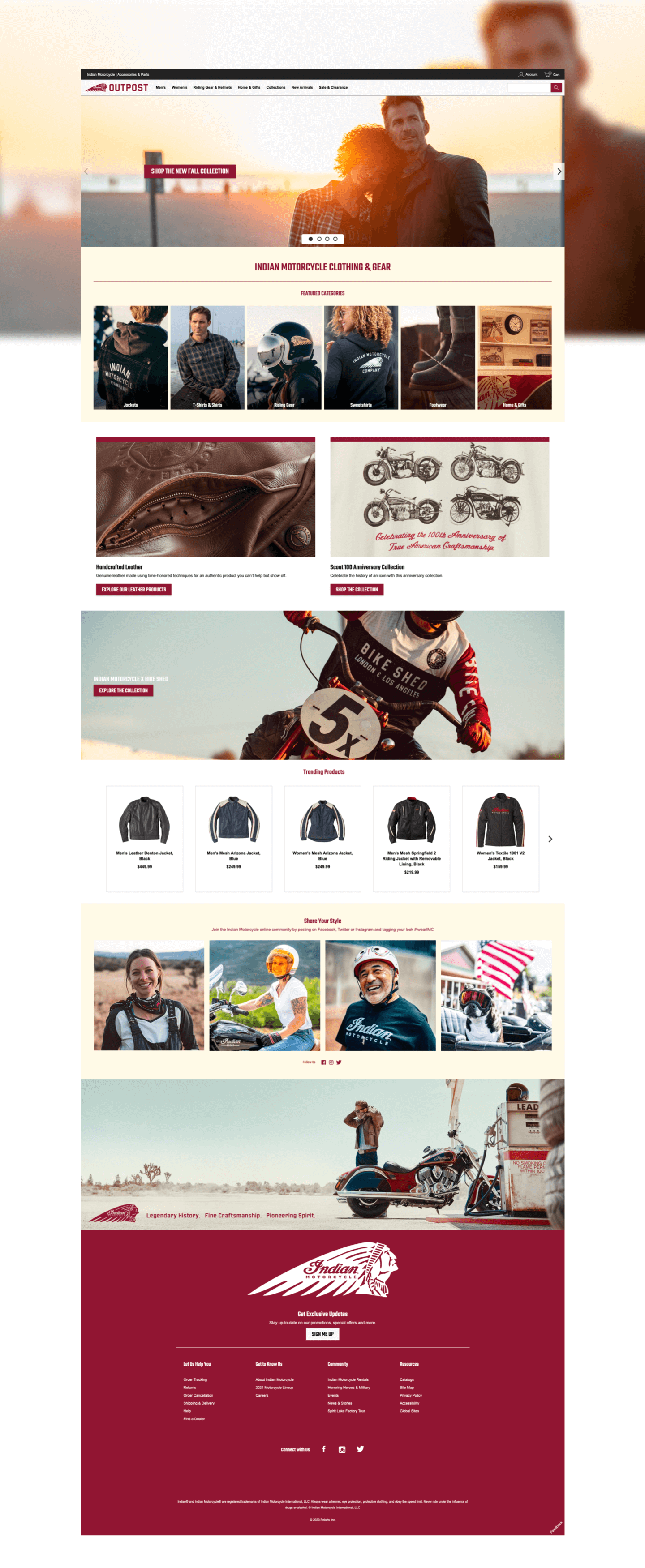 Full height image of Indian motorcycle E-commerce Webpage.