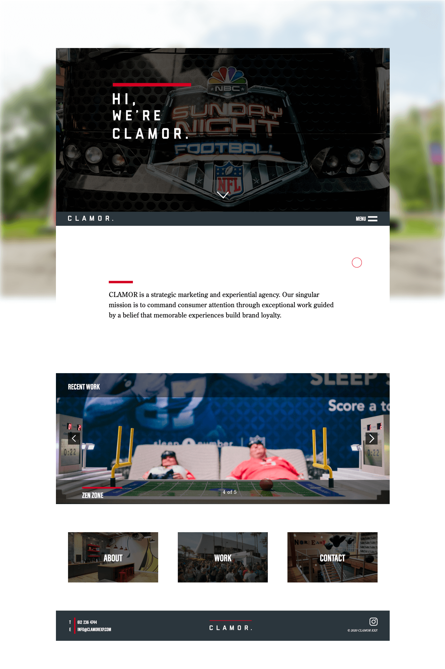 A full height image of Clamor 's Homepage.