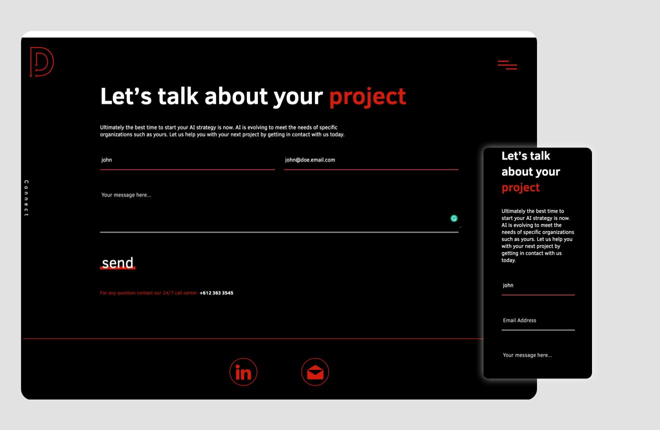 Ui showcasing the minimalistic form layout.