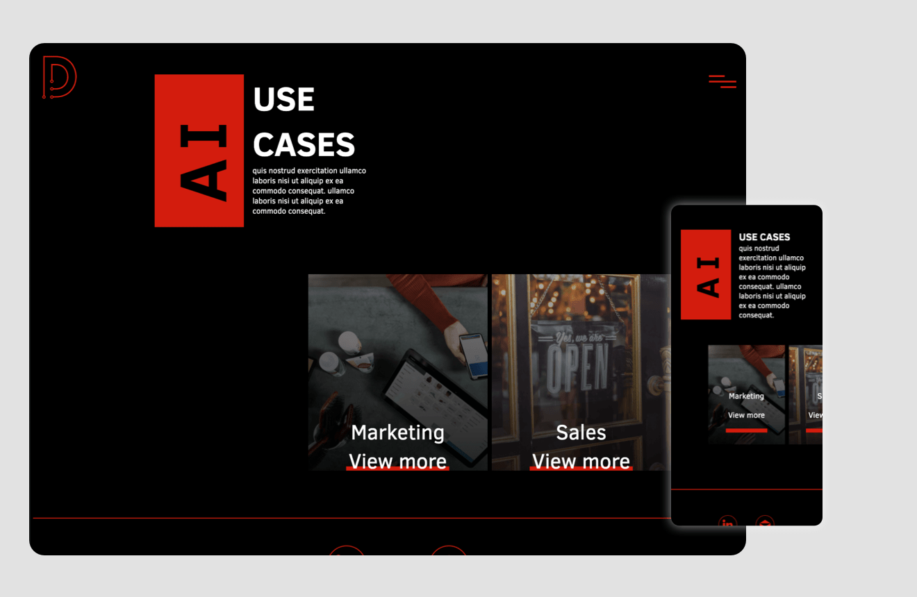 Layout Showcasing unique slide component that is use a nav to different page.