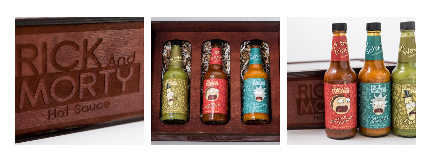 series of images that showcase bottles and the box.