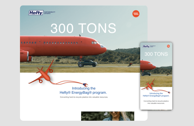 Hefty for sustainability home page .