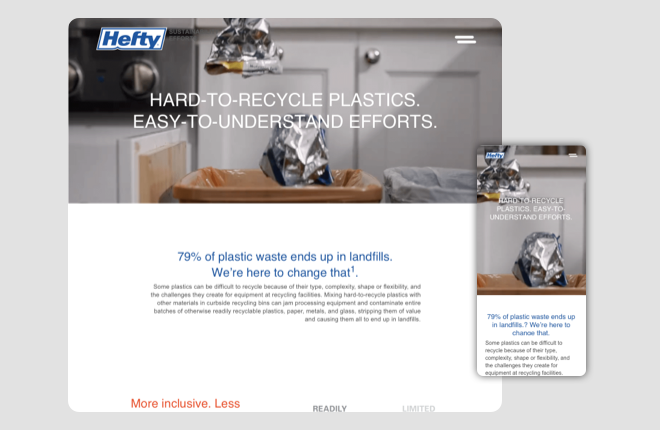 Hefty for sustainability secondary page