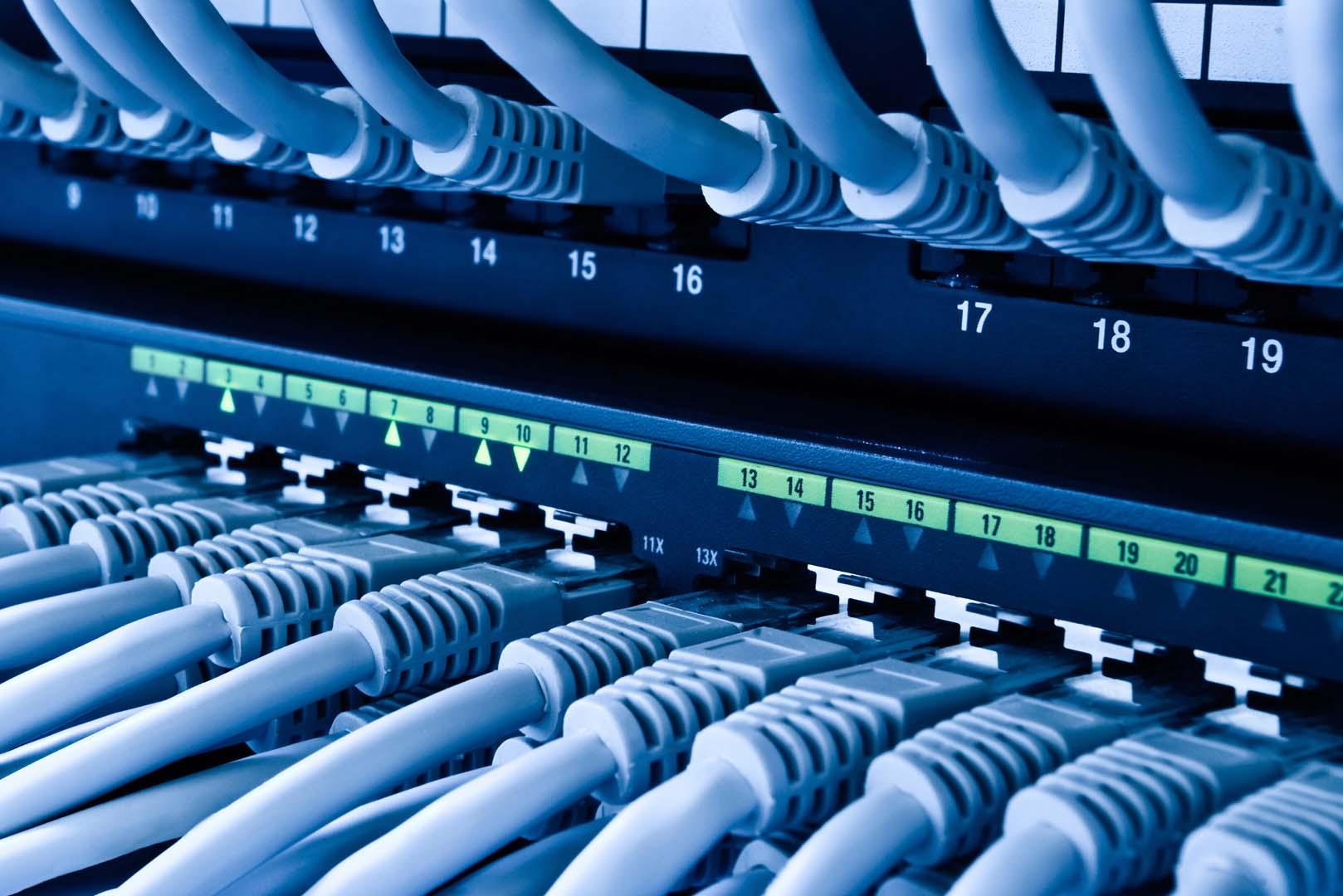 Netzwerkkabel in einem Netzwerkswitch