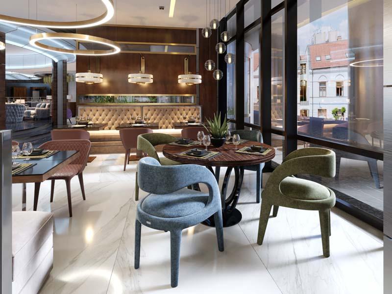 Ein modernes Restaurant in einem Hotel mit designerlicht