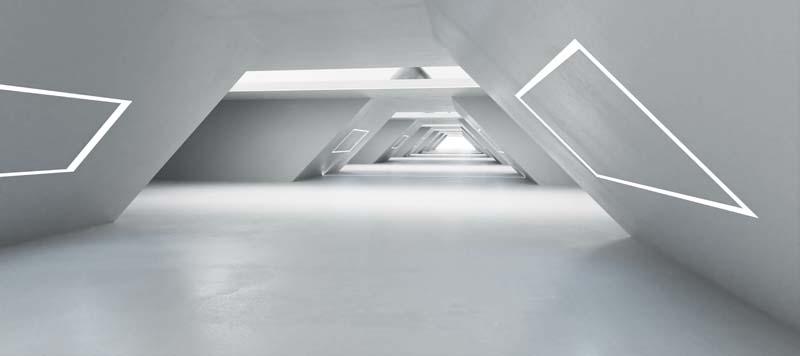 futuristische Architektur mit geometrischen Formen