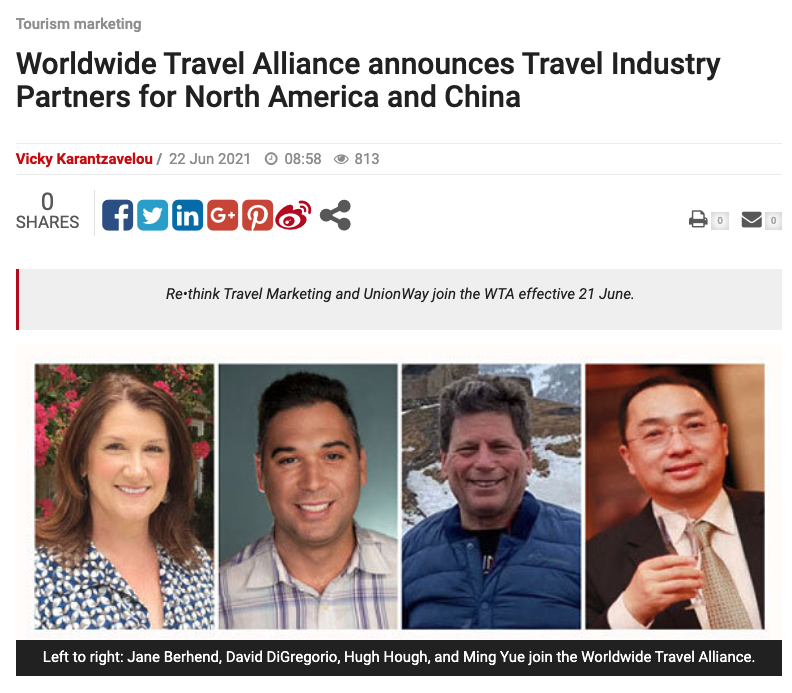 Worldwide Travel Alliance announces Travel Industry Partners for North America and China