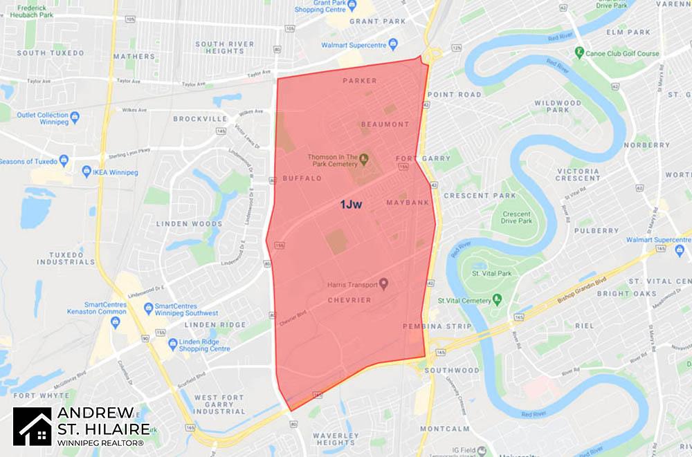 MLS® Map Winnipeg for 1Jw Area