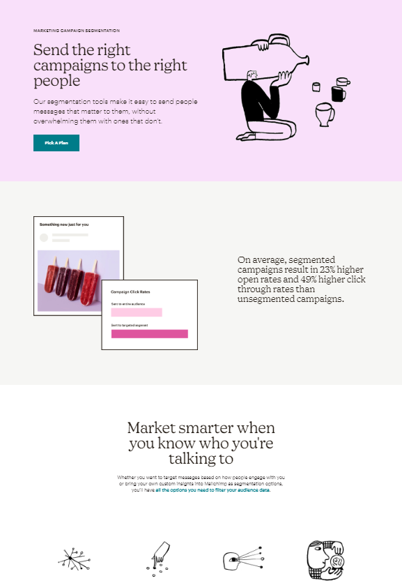 an example of click-through page landing page for SaaS