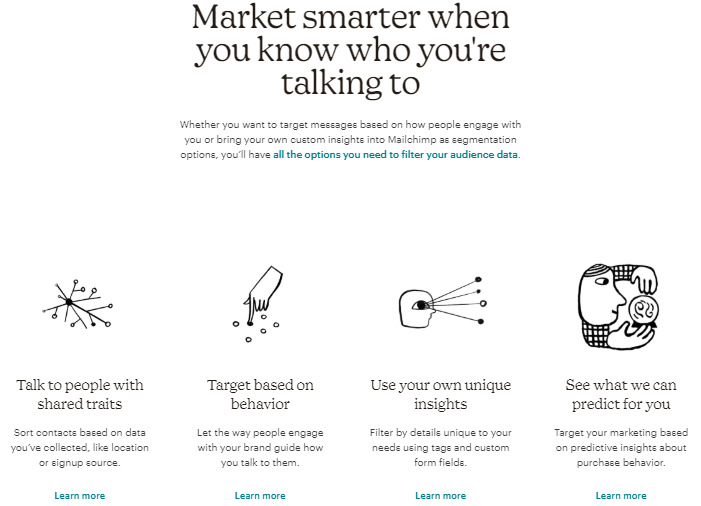 Mailchimp click-through landing page example